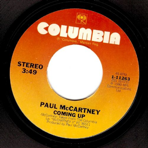 PAUL McCARTNEY Coming Up Vinyl Record 7 Inch US Columbia 1980